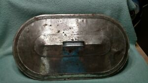Vtg Large Boiler Lid Replacement Metal Oval Washtub Cover W Handle