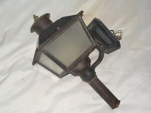 Vintage Black Metal W Glass Carriage Electric Wall Sconce Light Phil Hinkley Usa