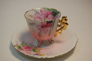 Takiro Japan Demi Floral Footed Hand Painted Tea Cup Saucer Set