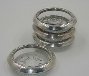 X4 Vintage Whiting Sterling Silver 3 75 Crystal Wine Bottle Decanter Coasters
