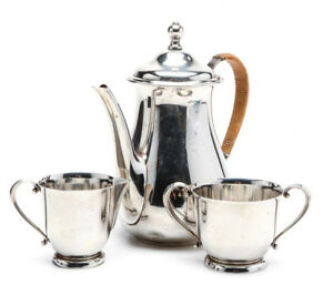Sterling Silver Coffee Pot Creamer And Open Sugar By International Silver 25 Oz