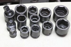 1 Inch Drive Impact Socket Lot 13 Pieces Proto Williams More