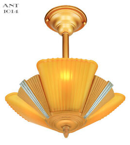 Art Deco Slip Shade Streamline Chandelier Circa 1935 Ant 1014