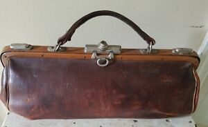 Antique French Leather And Metal Doctor S Medicine Bag 1920 S
