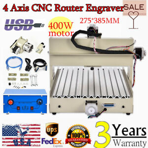 4axis 3040 Usb 400w Cnc Router Pcb Pvc Wood Milling Engraving Cutter Machine Usa
