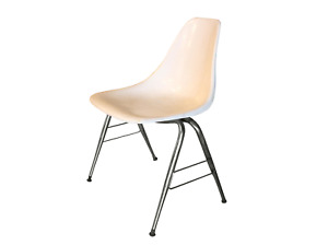 Mid Century Modern Herman Miller Eames Style Fiberglass Chair With Legs White
