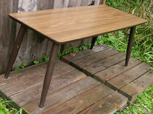 Vintage Mid Century Mcm Low Coffee Accent Table Tapered Legs Laminate Top