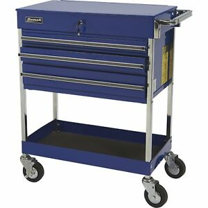Homak 3 Drawer Industrial Service Cart Blue Model Bl05500200