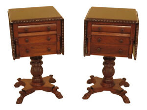 45622ec Pair Duncan Phyfe Carved Mahogany Drop Side Empire Nightstands