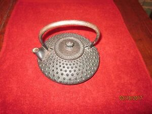 Antique Japanese Cast Iron Meija Or Early 20th C Tea Or Sake Pot Iron Handle