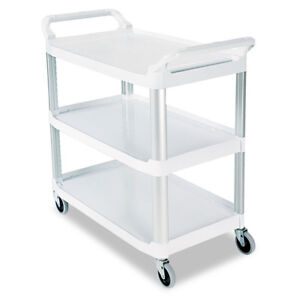 Rubbermaid Open Sided Utility Cart Three shelf Off white 409100cm New
