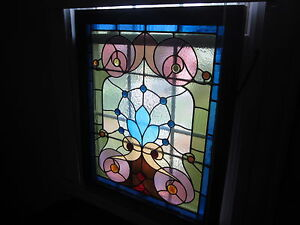 C 1910 Antique Victorian Stained Glass Window 18 Jewels Original Frame