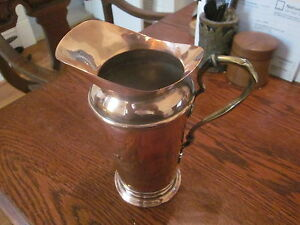 C E Deffner Jugendstil Copper Brass Water Pitcher Rare 7 1 2 Inches Tall