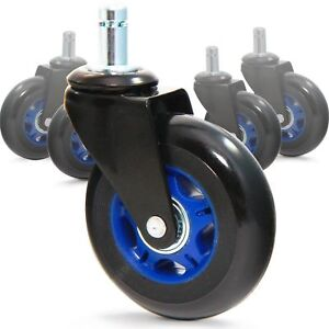 Revosmooth Soft Rubber Office Chair Wheels Casters Replacement Rollerblad New