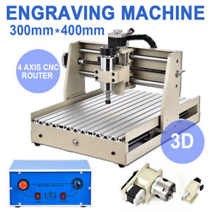 4 Axis 400w Cnc 3040 Router Engraver Machine 3d Carving Cutter Parallel Port