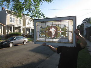 C 1890 Victorian Antique Stained Glass Window 9 Jewels Crack Free
