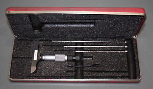 Starrett Depth Micrometer 445 W Case 0 3 Gauge Tool Set