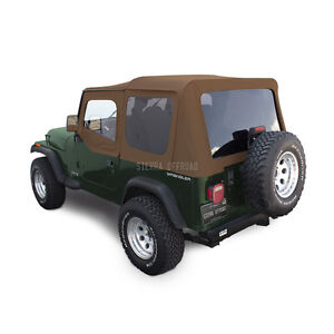 Jeep Wrangler Yj Soft Top 88 95 Upper Doors Tinted Windows Spice Sailcloth