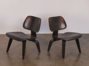 Pair Of Molded Eames Ebonized Lcws For Herman Miller