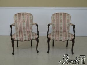 45790ec 91ec Hickory Chair Co French Upholstered Open Arm Chairs
