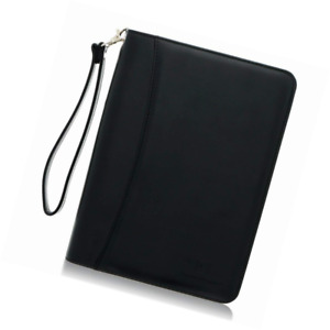 Small Zippered Business Padfolio With Junior Legal Notepad Black Pu Leather Po