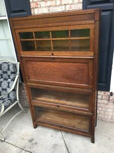 Antique Globe Wernicke Stack Lawyers Bookcase Desk All Original Finish Tiger Oak