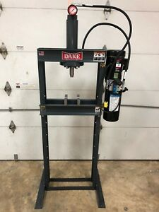 Dake 10 Ton Hydraulic Shop Press 4 To16 Ram table Utility H frame Force 10da