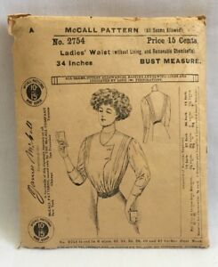 Rare Edwardian 1908 Mccall Sewing Pattern 2754 Ladies Waist 34 Bust Blouse2282
