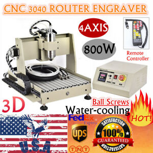 4axis 3040 Cutter Cnc Router Engraver Wood Milling Machine 800w Vfd controller