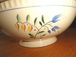 Lg Antique Bowl Boch Freres Keramis Pottery Belgium Footed Soup Tureen