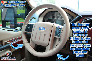 09 10 Ford F250 F350 Lariat tan Leather Steering Wheel Cover W needle