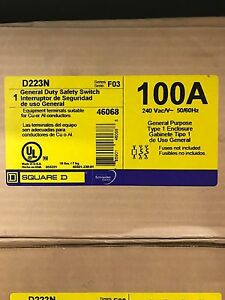 Square D d223n 100a General Duty Safety Switch New In Box Free Shipping
