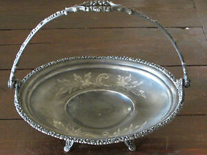 Antique Victorian Brides Cake Basket Van Bergh Silverplate Co Rochester Ny