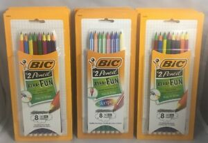 16 Bic Xtra fun 2 Pencil Ultra Solid And Stripes 8 Count 128 Total Pencils Lot