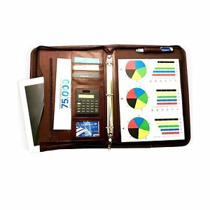 upgraded Fall 2018 Zippered Executive 3 Ring Leather Portfolio Binder Organ