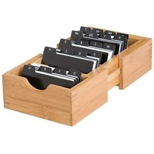 Business Card Holders 810 Bamboo Wood Expandable With Alphabet Index Tabs 5 8