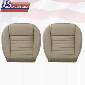 2005 2009 Ford Mustang Driver Passenger Bottom Leather Seat Cover Med Parchment