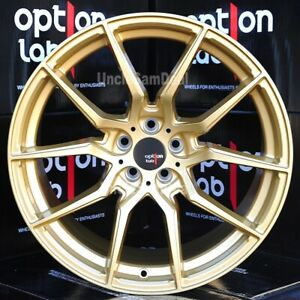 18x9 5 5x114 3 35 Offset Option Lab R716 Top Secret Gold 10 Spokes Tuner Wheels