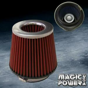 4 Universal Chrome Inlet Short Ram Cold Intake Round Cone Air Filter Red Kn Type