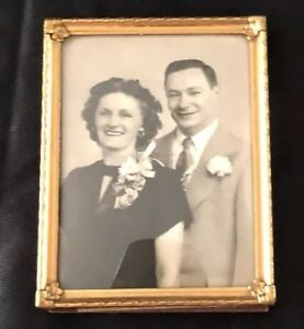 Vintage Frame Photo Picture Bronze Small Brass Convex Glass Curved Glass F S