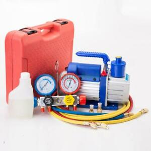 R404a Ac Manifold Gauge Set Refrigerant Hvac 3cfm 1 4hp Electric Vacuum Pump