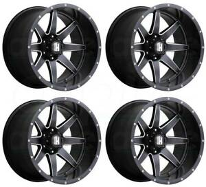 20x10 Havok H112 8x6 5 8x165 1 24 Black Milled Wheels Rims Set 4