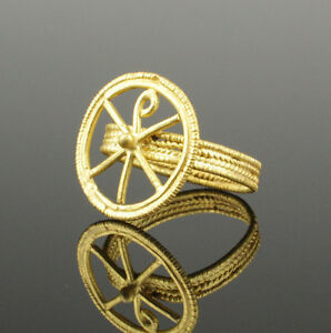 Ancient Roman Chi Rho Gold Ring Circa 4th 5th Century Ad
