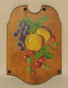 Antique Wood Cutting Board Primitive Tole Painted Kitchen Tool Natural Patina 2