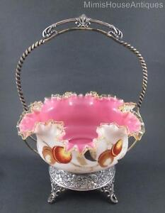 Victorian Bride S Basket Cased Pink White Bowl Fruit Decor Webster Frame