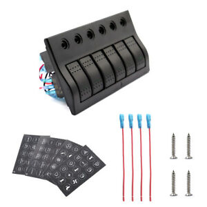 12 24v Switch Panel 6 Groups With Led Working Indicator Light For Car Yacht Boat