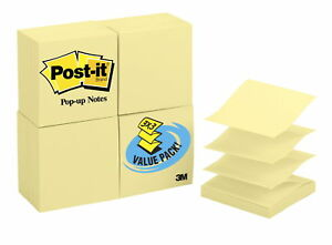 Post it Pop up Notes 3 X 3 Inches Canary Yellow 24 Pads With 100 Sheets Each