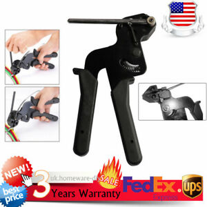 Stainless Metal Cable Tie Fasten Gun Pliers Crimper Tensioner Cutter Tool Pro Us