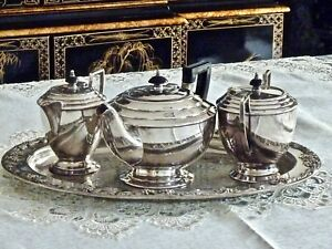 Superb Art Deco Silver Plated Tea Set With Tray Hegworths C 1930 S