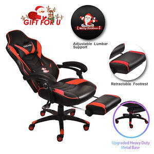 Gaming Chair Ergonomic High Back Leather Seat Recliner Office Computer Footrest